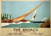 The Broads, Sailing, Norfolk. Vintage LNER Travel poster by Frank Henry Mason. 1934.